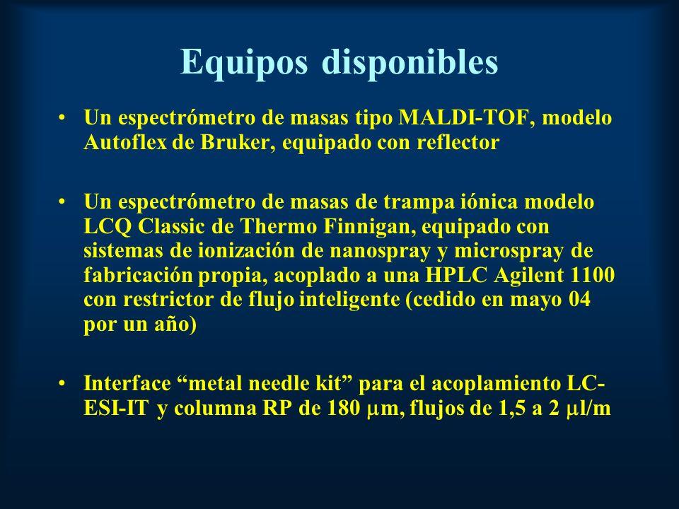Equipos disponibles Un espectrómetro de masas tipo MALDI-TOF, modelo Autoflex de Bruker, equipado con reflector.