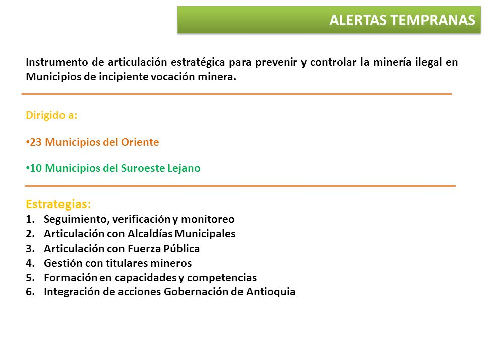 ALERTAS TEMPRANAS Estrategias: