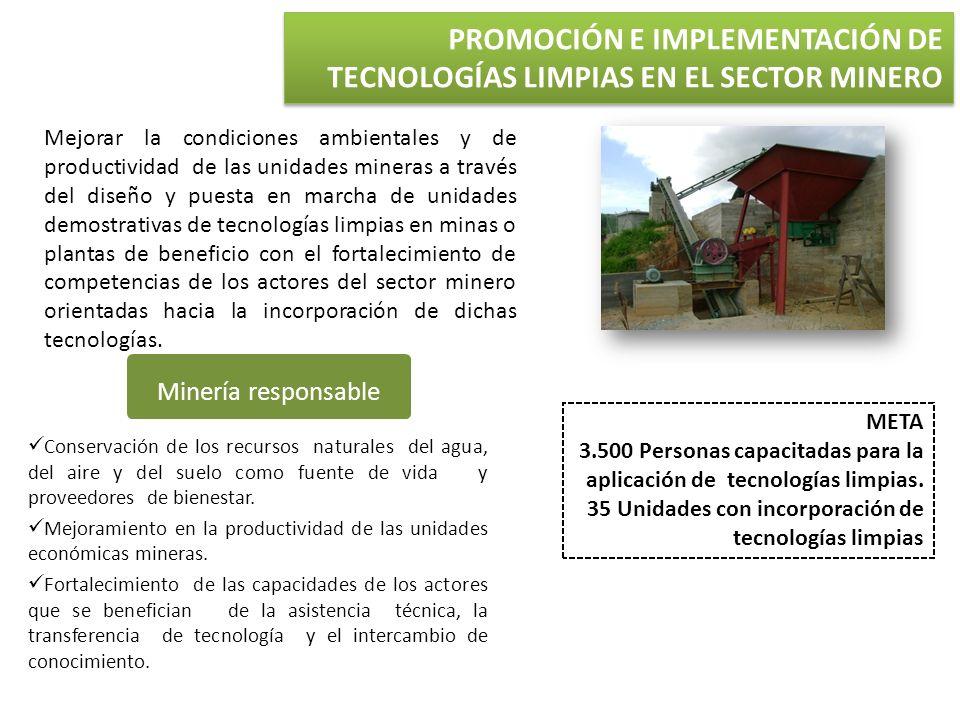 PROMOCIÓN E IMPLEMENTACIÓN DE TECNOLOGÍAS LIMPIAS EN EL SECTOR MINERO