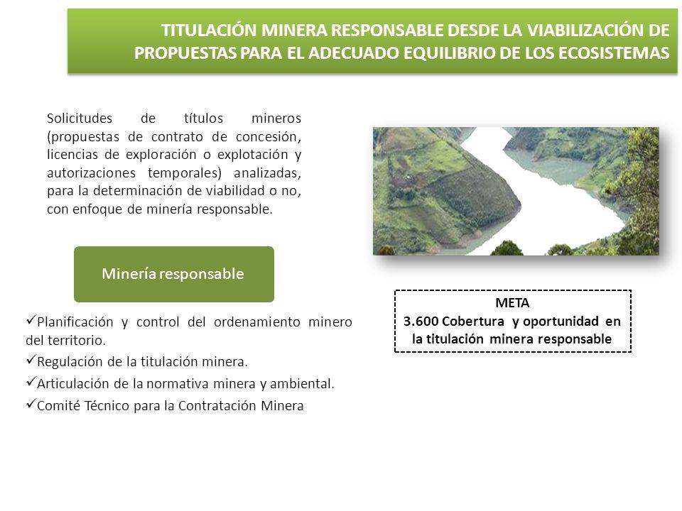 3.600 Cobertura y oportunidad en la titulación minera responsable