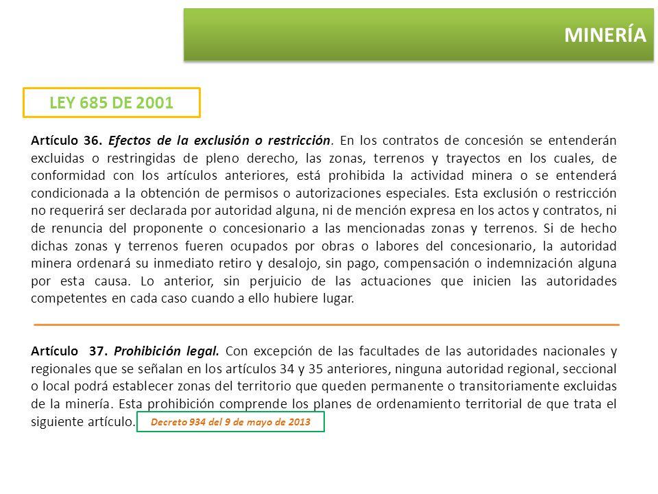 MINERÍA LEY 685 DE 2001.
