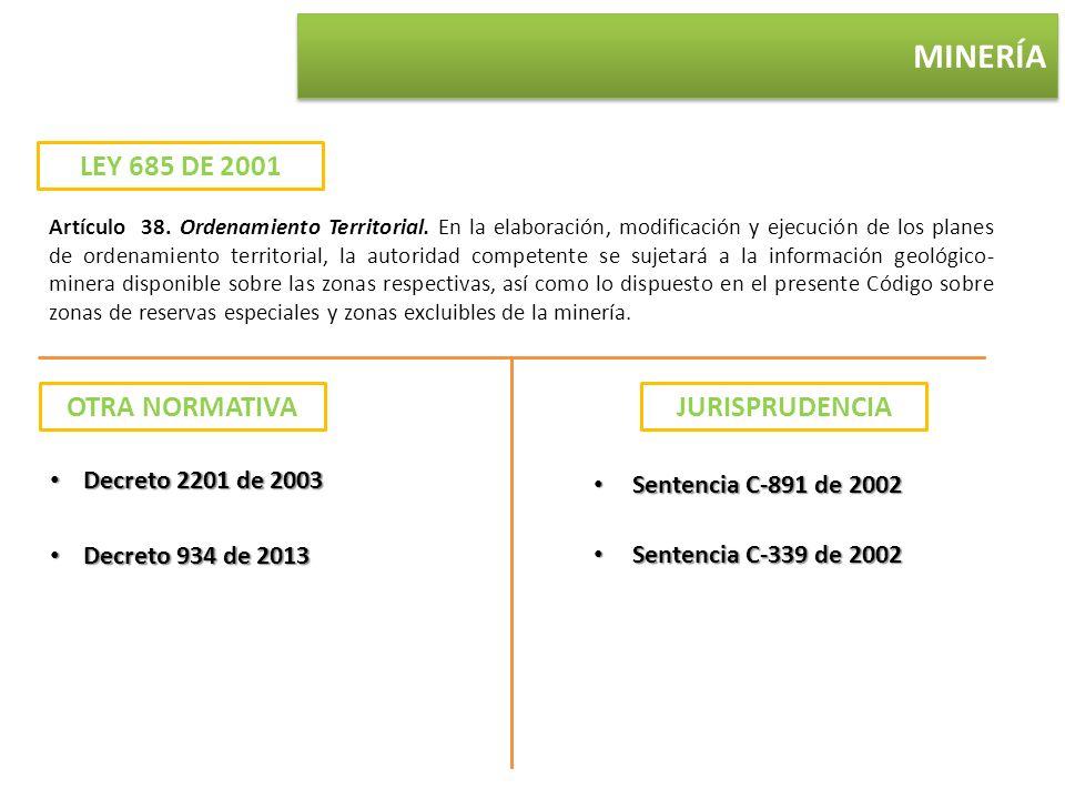 MINERÍA LEY 685 DE 2001 OTRA NORMATIVA JURISPRUDENCIA