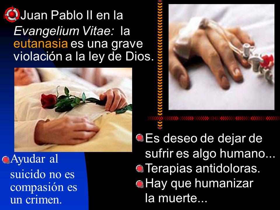 Juan Pablo II en laEvangelium Vitae: la eutanasia es una grave violación a la ley de Dios. Es deseo de dejar de sufrir es algo humano...