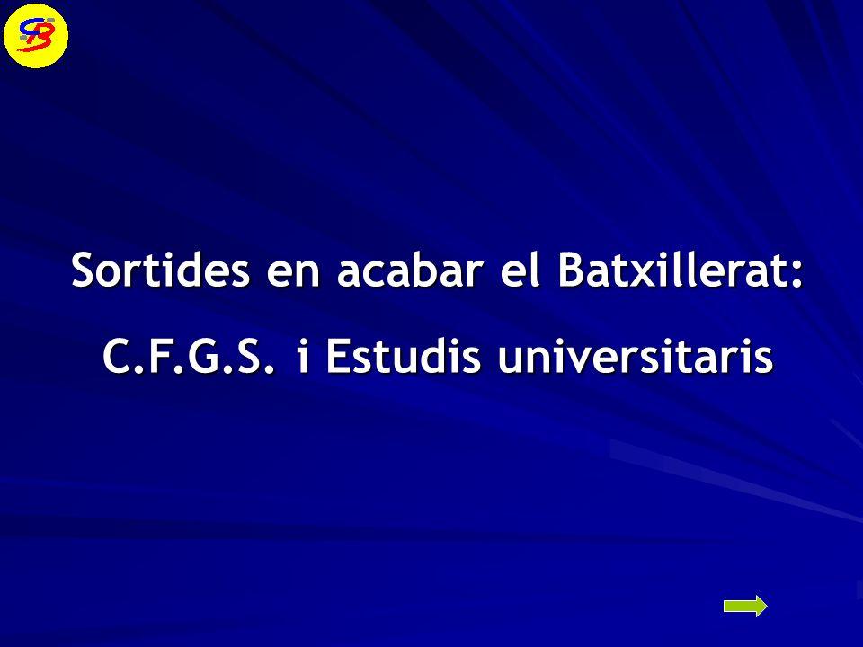 Sortides en acabar el Batxillerat: C.F.G.S. i Estudis universitaris