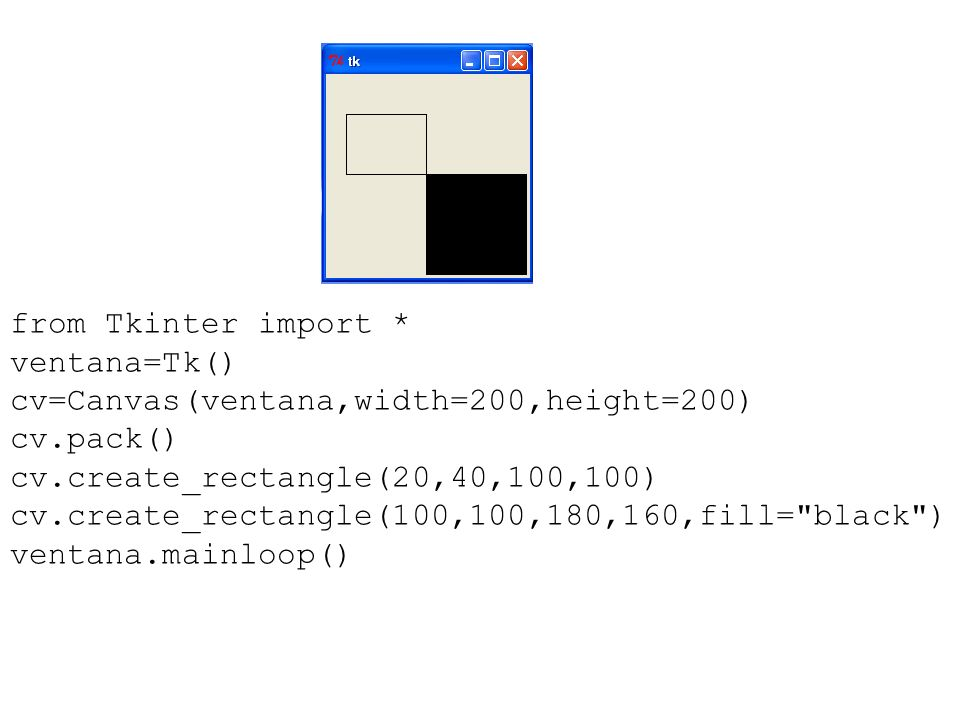from Tkinter import * ventana=Tk() cv=Canvas(ventana,width=200,height=200) cv.pack() cv.create_rectangle(20,40,100,100)