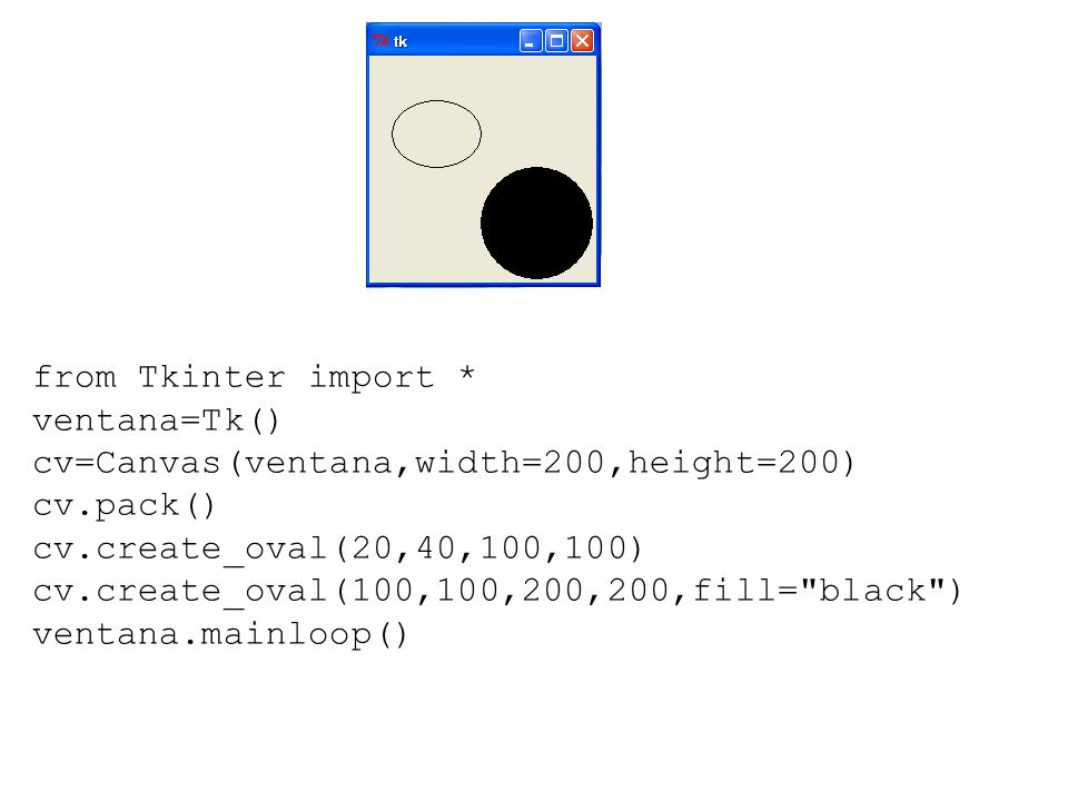 from Tkinter import * ventana=Tk() cv=Canvas(ventana,width=200,height=200) cv.pack() cv.create_oval(20,40,100,100)