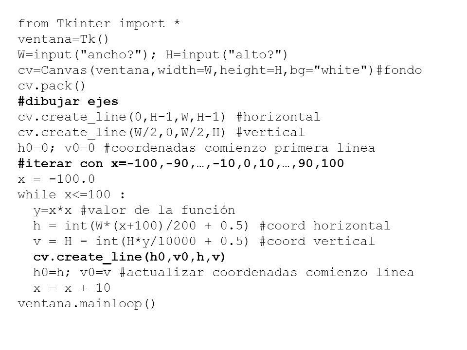 from Tkinter import * ventana=Tk() W=input( ancho ); H=input( alto ) cv=Canvas(ventana,width=W,height=H,bg= white )#fondo.