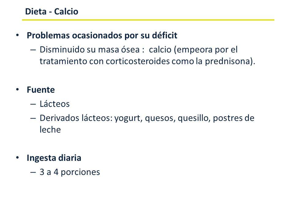 Dieta - CalcioProblemas ocasionados por su déficit.
