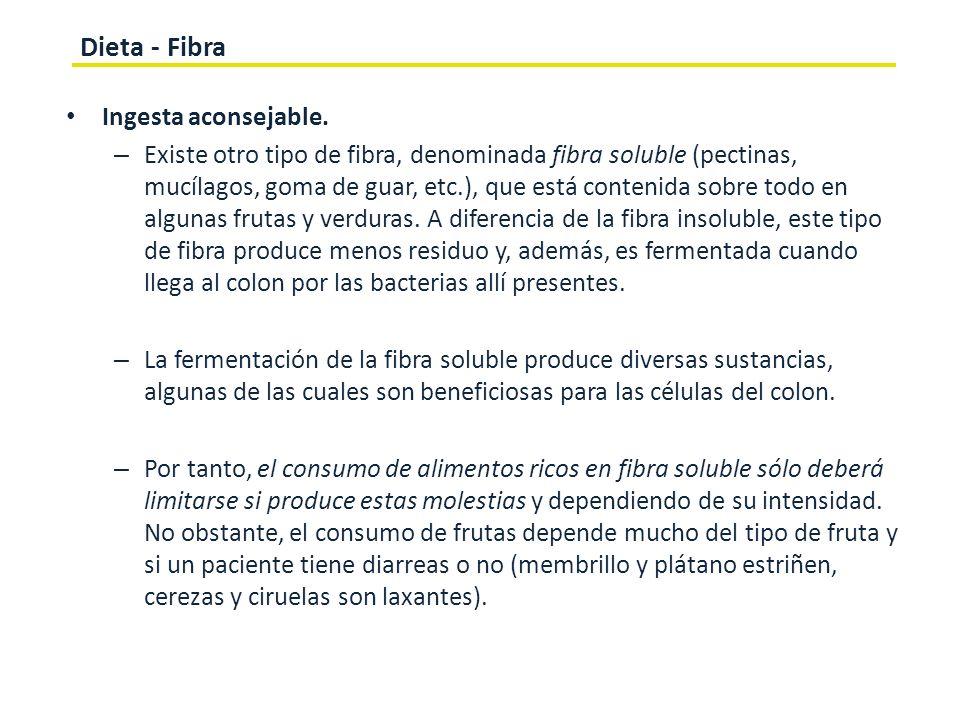 Dieta - Fibra Ingesta aconsejable.