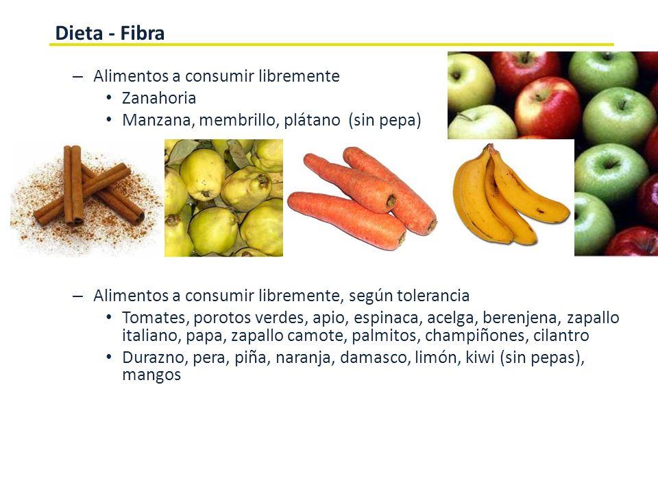 Dieta - Fibra Alimentos a consumir libremente Zanahoria