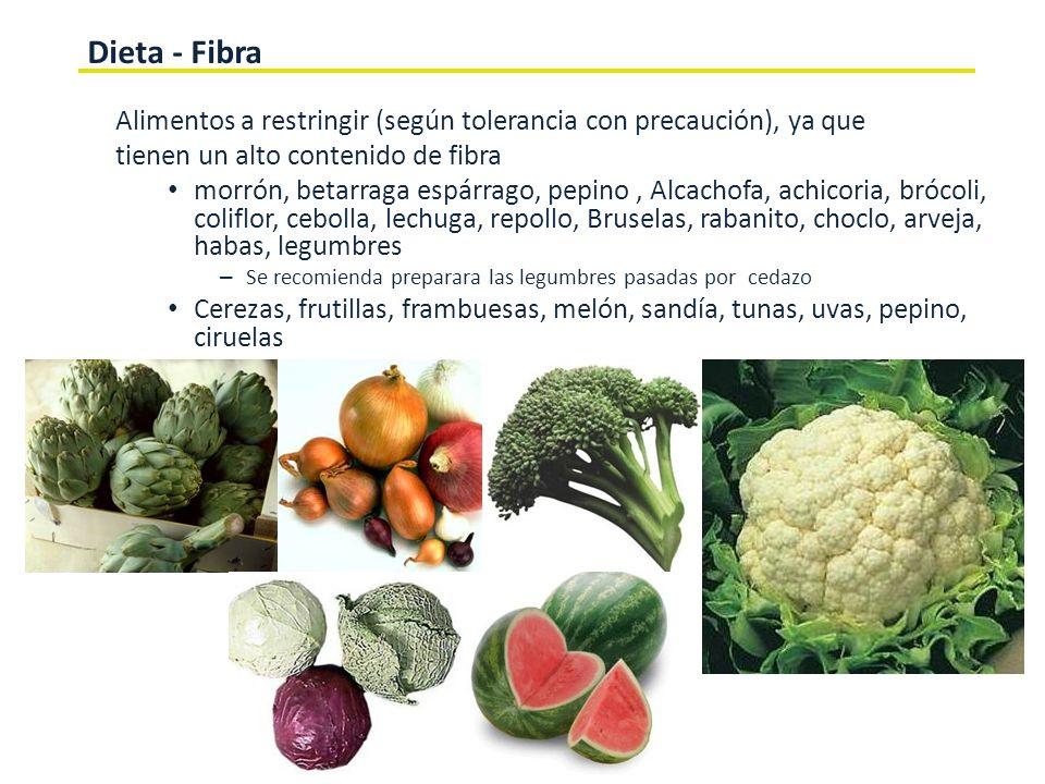 Dieta - FibraAlimentos a restringir (según tolerancia con precaución), ya que. tienen un alto contenido de fibra.