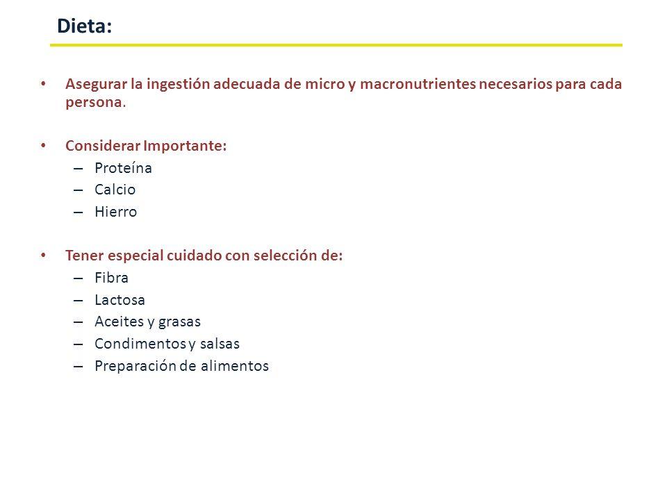 Dieta:Asegurar la ingestión adecuada de micro y macronutrientes necesarios para cada persona. Considerar Importante: