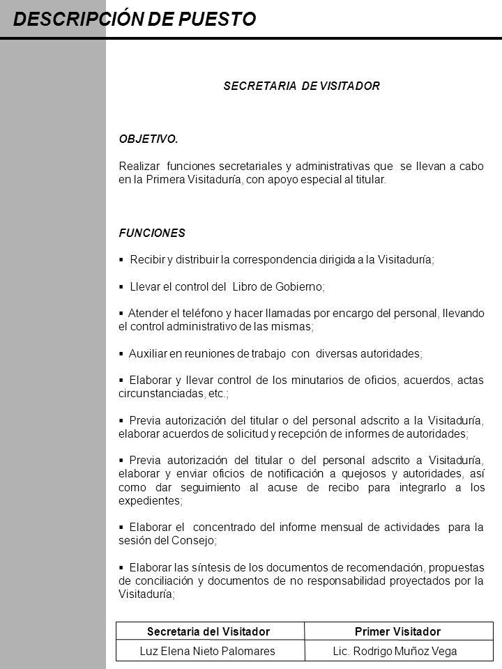SECRETARIA DE VISITADOR
