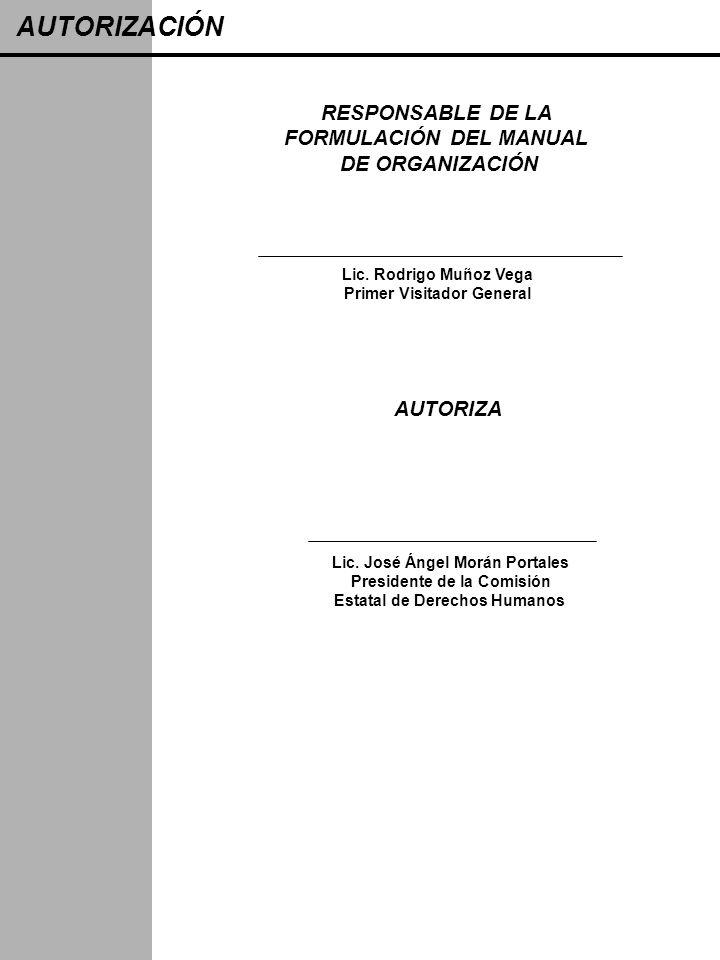 AUTORIZACIÓN RESPONSABLE DE LA FORMULACIÓN DEL MANUAL DE ORGANIZACIÓN
