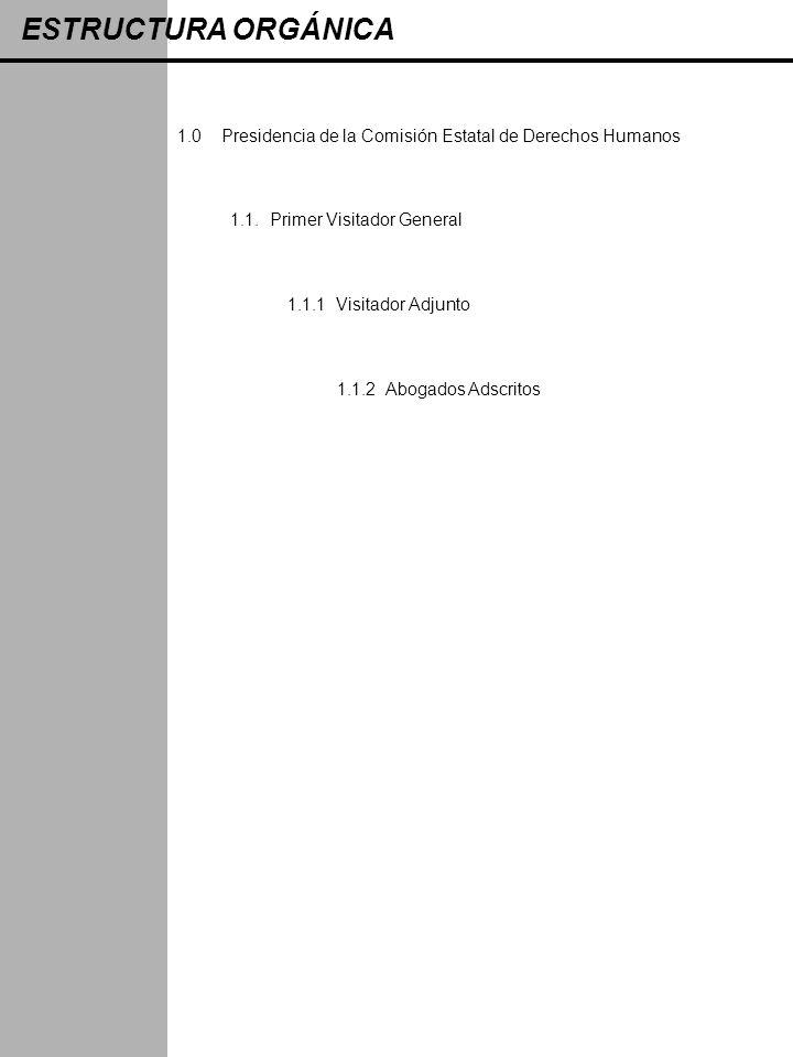 ESTRUCTURA ORGÁNICA 1.0 Presidencia de la Comisión Estatal de Derechos Humanos. 1.1. Primer Visitador General.