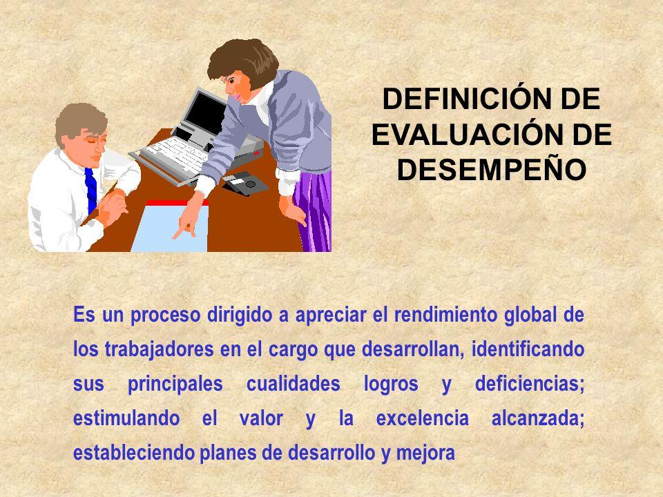 DEFINICIÓN DE EVALUACIÓN DE DESEMPEÑO
