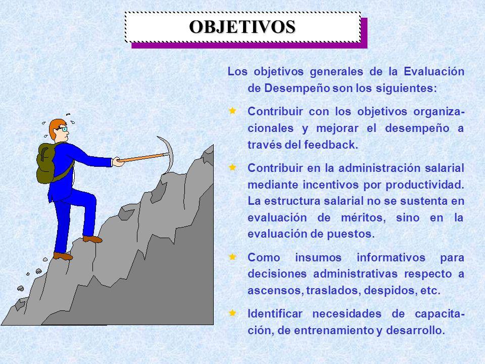 OBJETIVOS Los objetivos generales de la Evaluación de Desempeño son los siguientes: