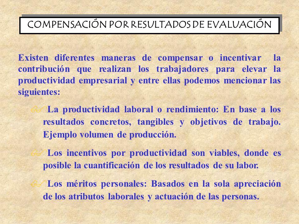 COMPENSACIÓN POR RESULTADOS DE EVALUACIÓN