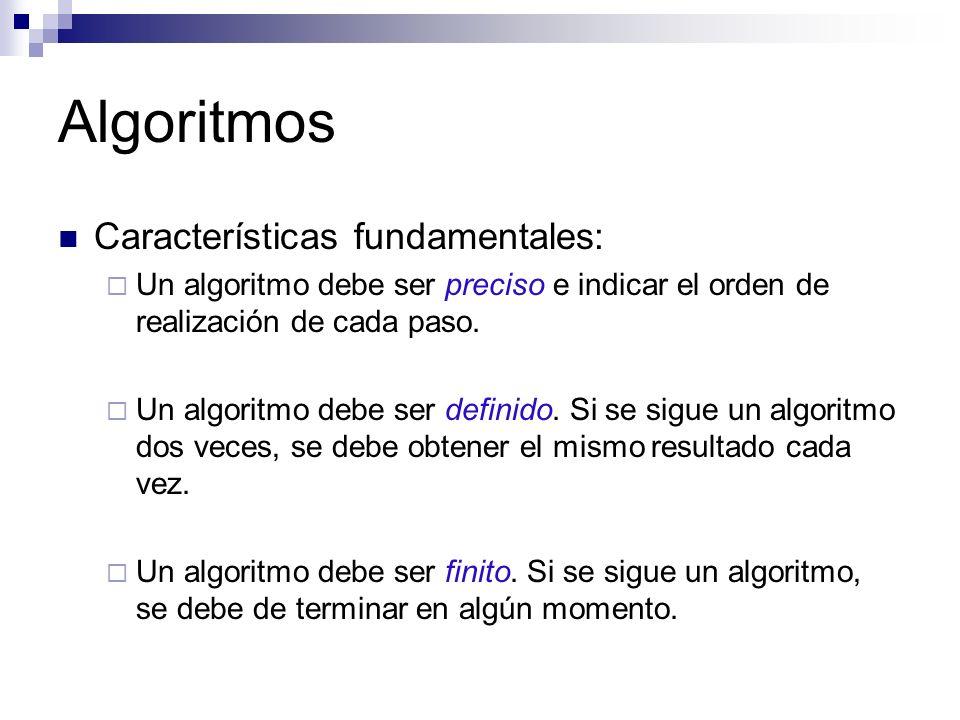 Algoritmos Características fundamentales: