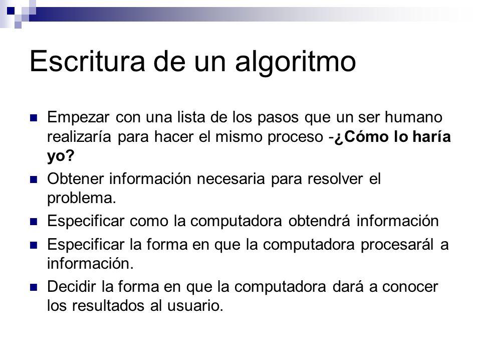 Escritura de un algoritmo