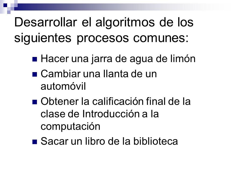 Desarrollar el algoritmos de los siguientes procesos comunes: