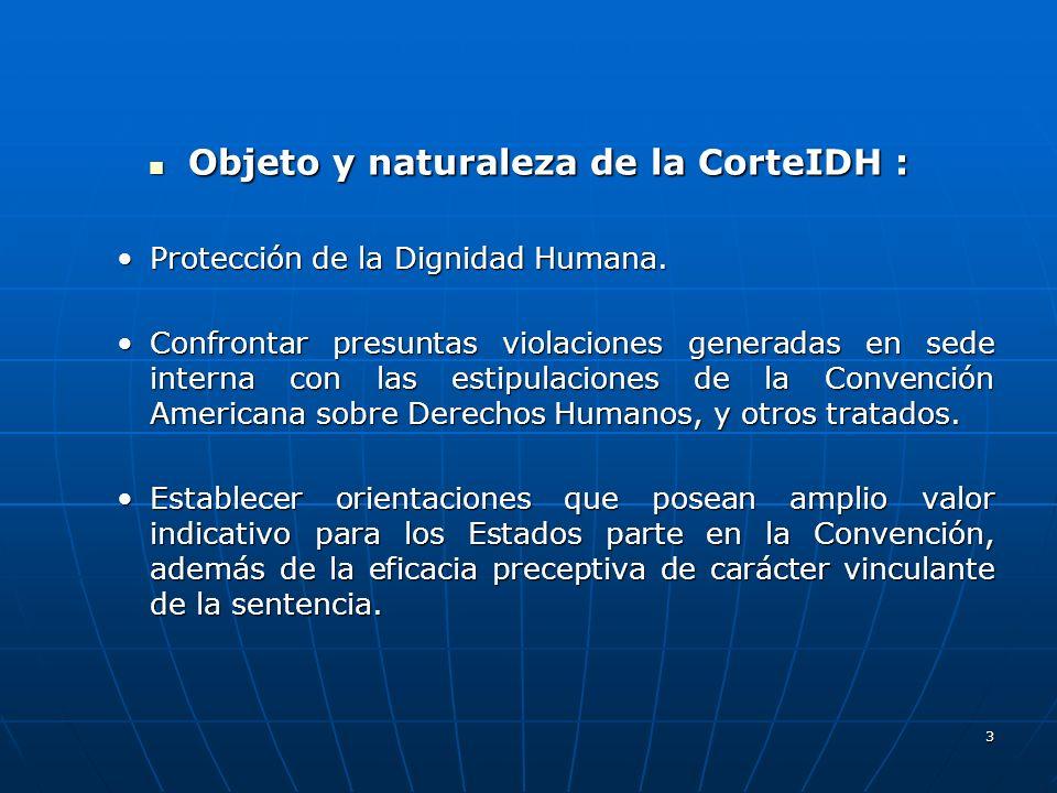 Objeto y naturaleza de la CorteIDH :