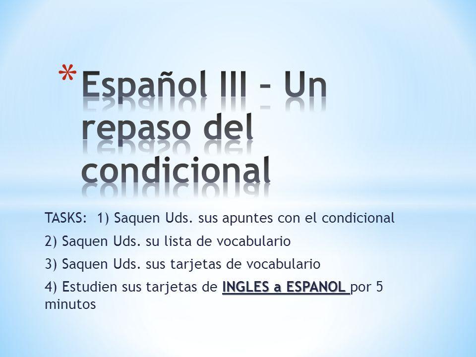 Español III – Un repaso del condicional