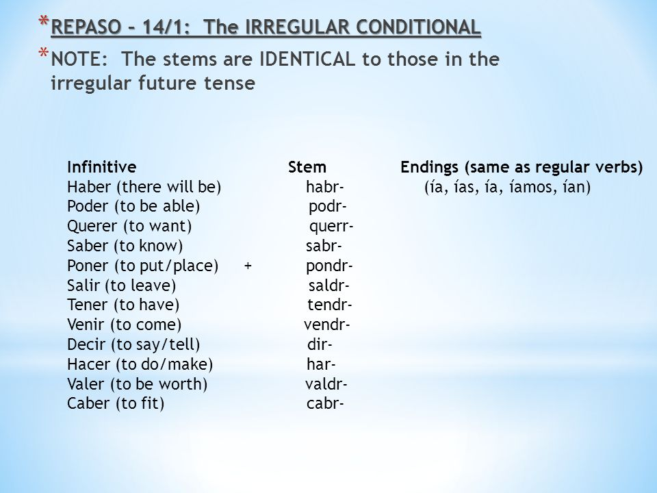REPASO – 14/1: The IRREGULAR CONDITIONAL