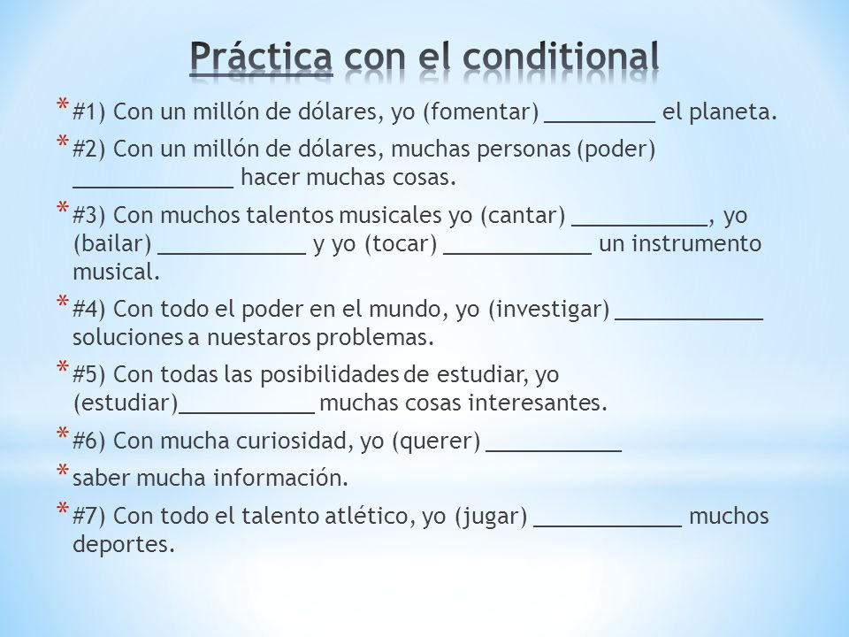Práctica con el conditional