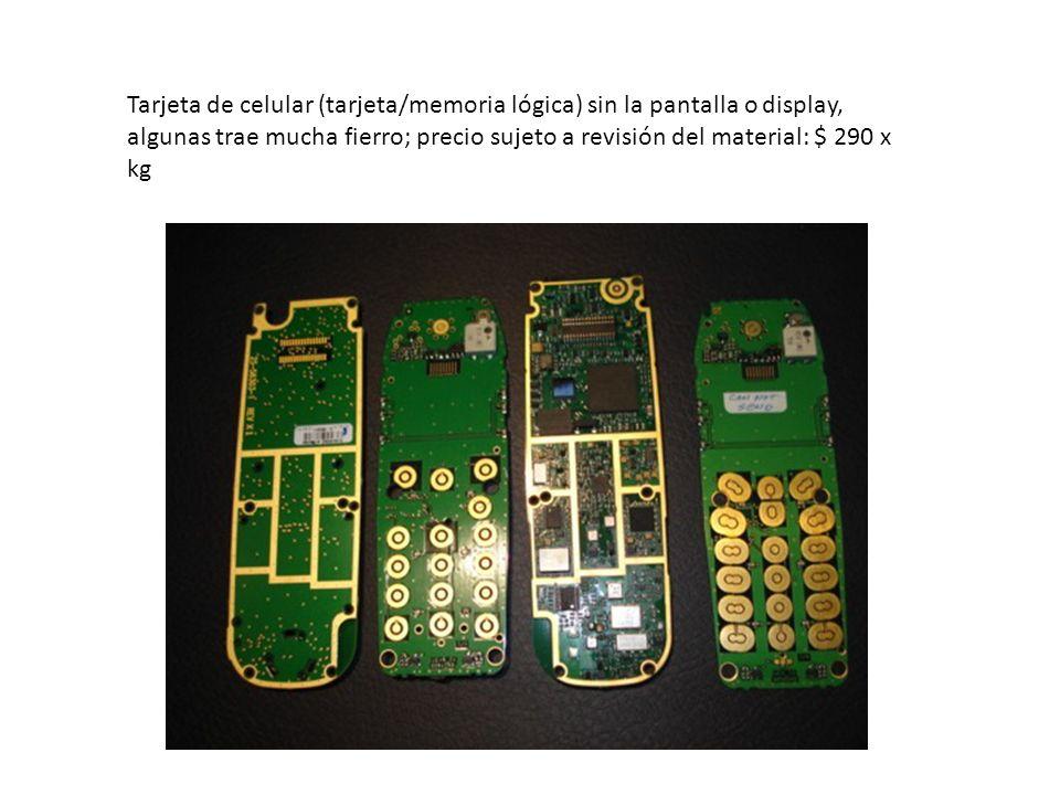 Tarjeta de celular (tarjeta/memoria lógica) sin la pantalla o display,