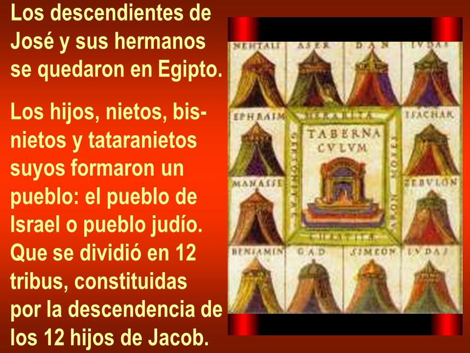 Los descendientes de José y sus hermanos. se quedaron en Egipto. Los hijos, nietos, bis- nietos y tataranietos.