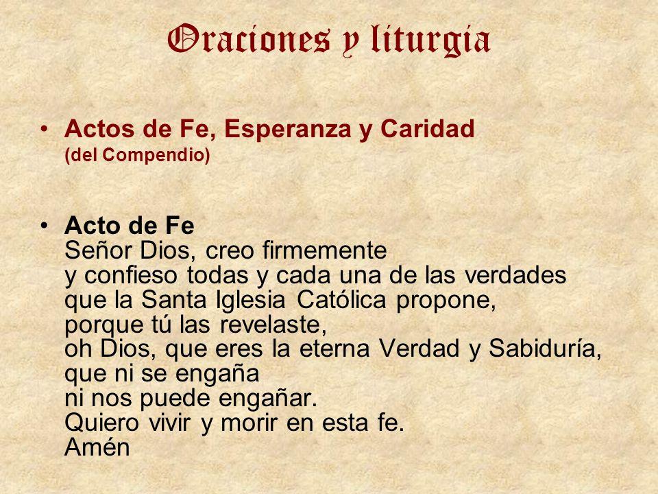 Oraciones y liturgia Actos de Fe, Esperanza y Caridad