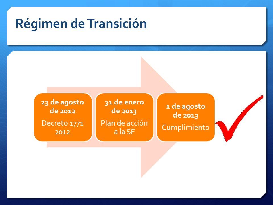 Régimen de Transición 23 de agosto de 2012 Decreto 1771 2012
