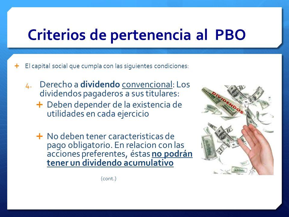 Criterios de pertenencia al PBO