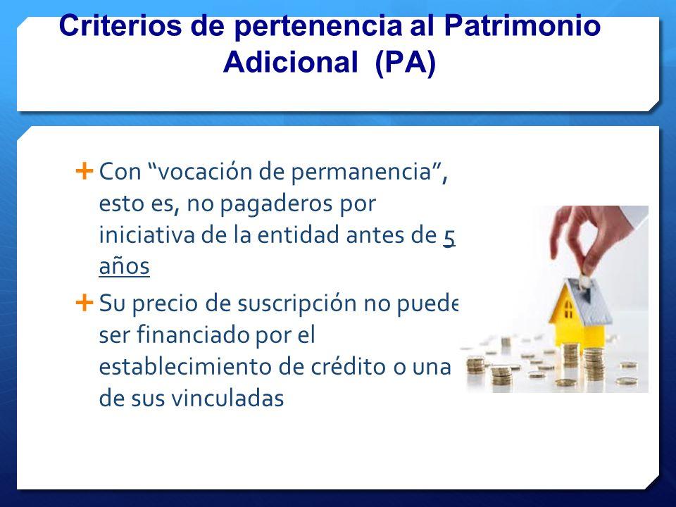 Criterios de pertenencia al Patrimonio Adicional (PA)
