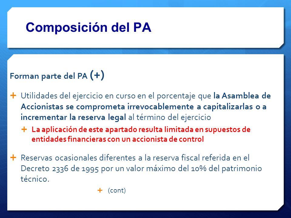 Composición del PA Forman parte del PA (+)