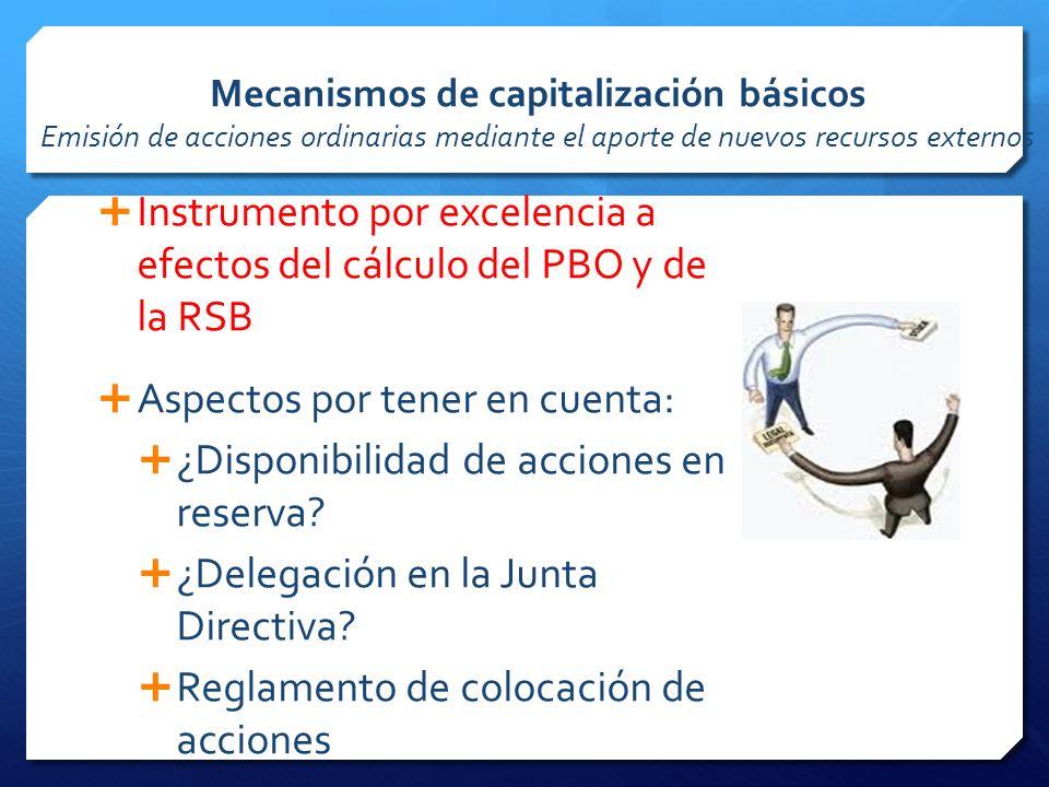Instrumento por excelencia a efectos del cálculo del PBO y de la RSB