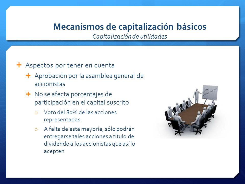 Mecanismos de capitalización básicos Capitalización de utilidades