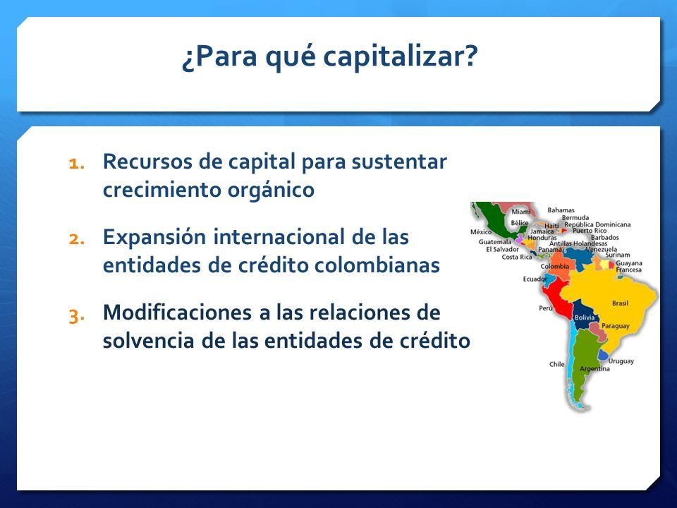 ¿Para qué capitalizar Recursos de capital para sustentar crecimiento orgánico. Expansión internacional de las entidades de crédito colombianas.