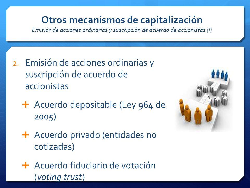 Otros mecanismos de capitalización Emisión de acciones ordinarias y suscripción de acuerdo de accionistas (I)