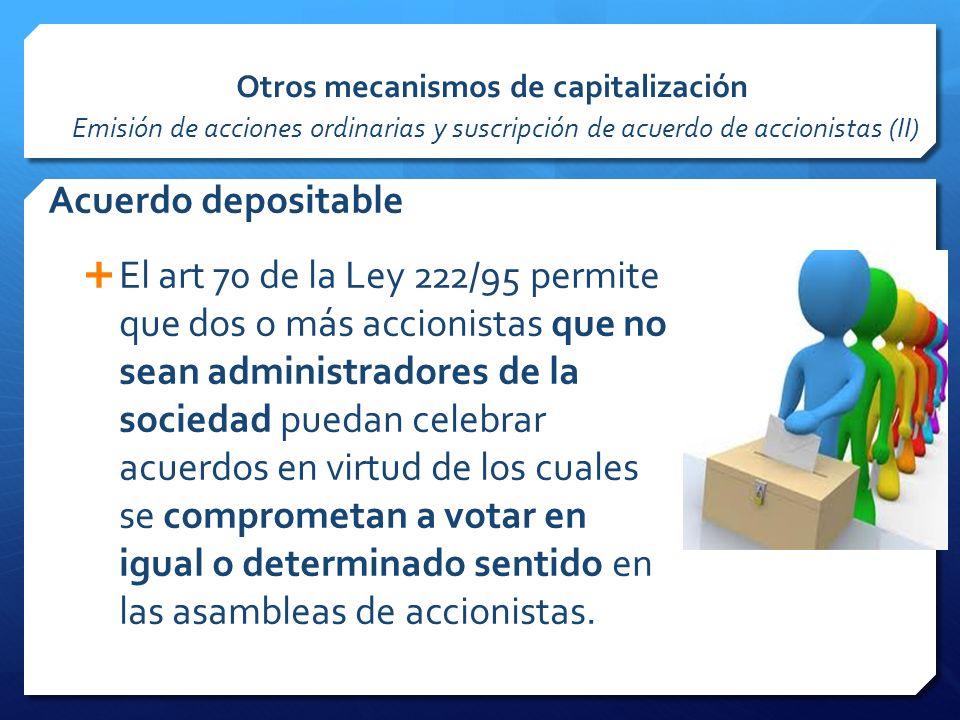 Otros mecanismos de capitalización Emisión de acciones ordinarias y suscripción de acuerdo de accionistas (II)
