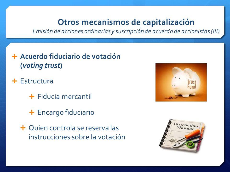 Otros mecanismos de capitalización Emisión de acciones ordinarias y suscripción de acuerdo de accionistas (III)