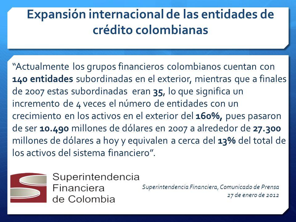 Expansión internacional de las entidades de crédito colombianas