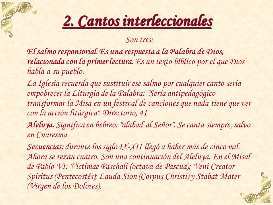 2. Cantos interleccionales