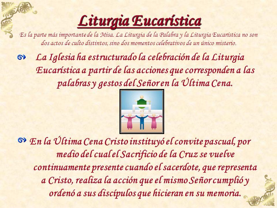 Liturgia Eucarística Es la parte más importante de la Misa