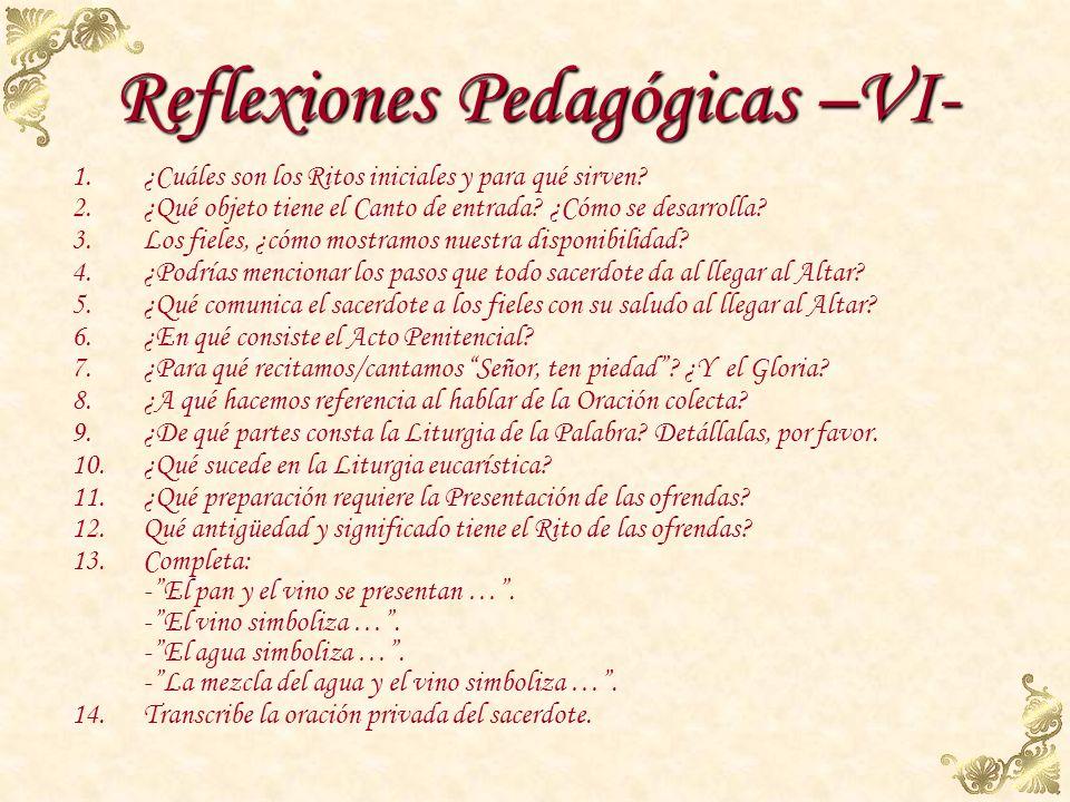 Reflexiones Pedagógicas –VI-