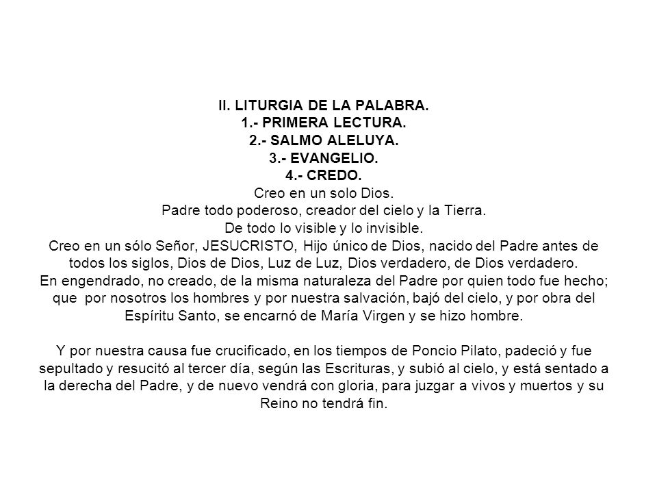 II. LITURGIA DE LA PALABRA. 1.- PRIMERA LECTURA.