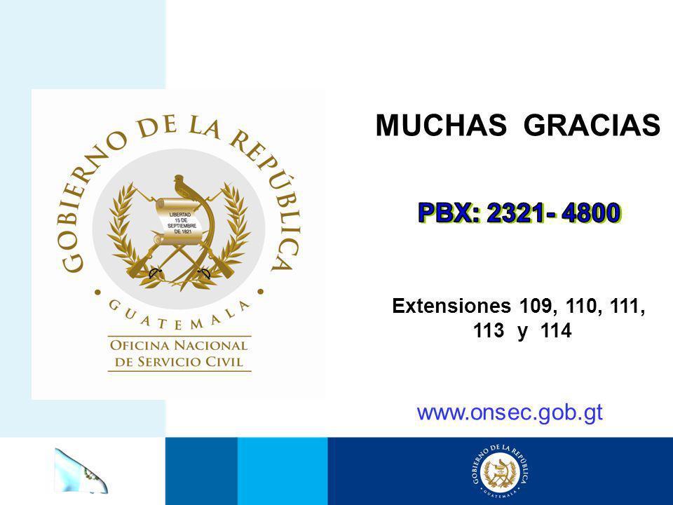 MUCHAS GRACIAS PBX: 2321- 4800 www.onsec.gob.gt