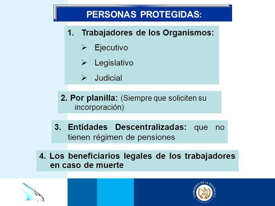 PERSONAS PROTEGIDAS: Trabajadores de los Organismos: Ejecutivo