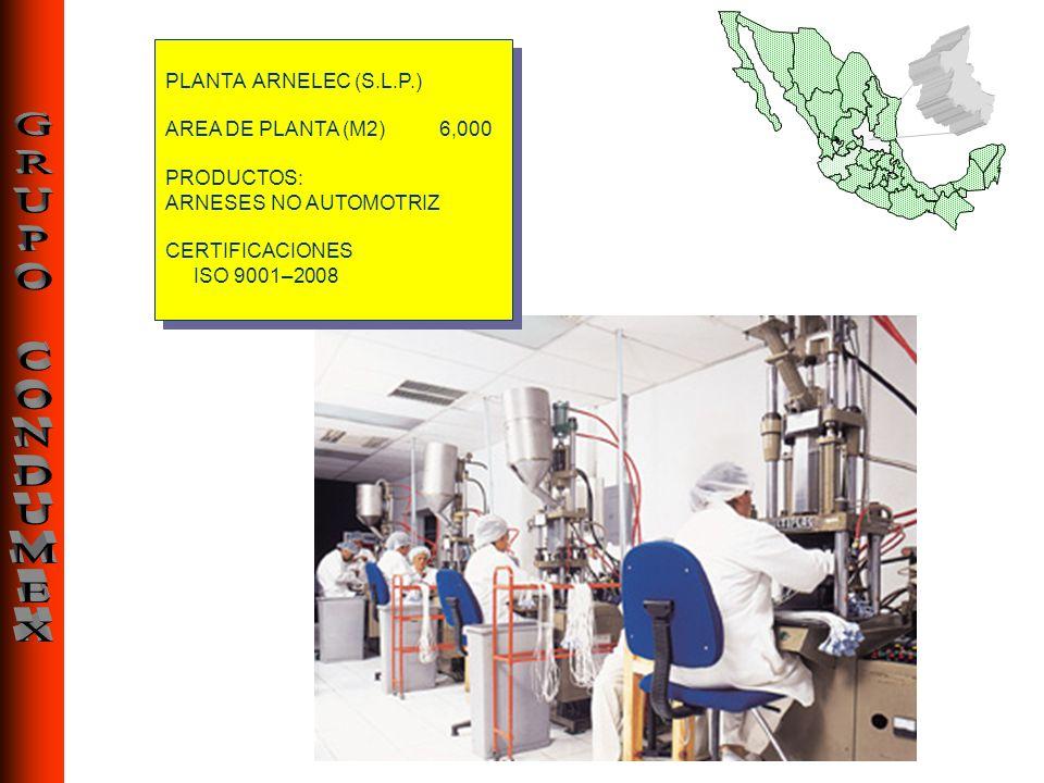 PLANTA ARNELEC (S.L.P.) AREA DE PLANTA (M2) 6,000. PRODUCTOS: ARNESES NO AUTOMOTRIZ. CERTIFICACIONES.